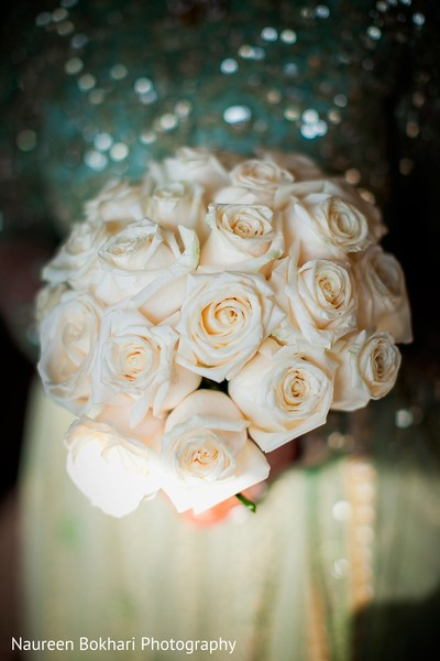 White bouquet in Herndon, VA Indian Wedding by Naureen Bokhari Photography