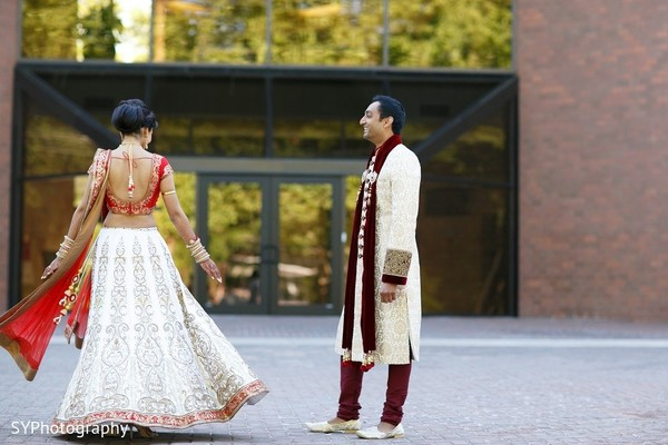 First Look in Princeton, NJ Indian Wedding by SYPhotography