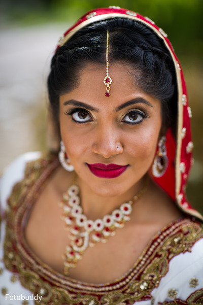 Portrait of Indian bride in Monmouth Junction, NJ South Asian Wedding by Fotobuddy Photography