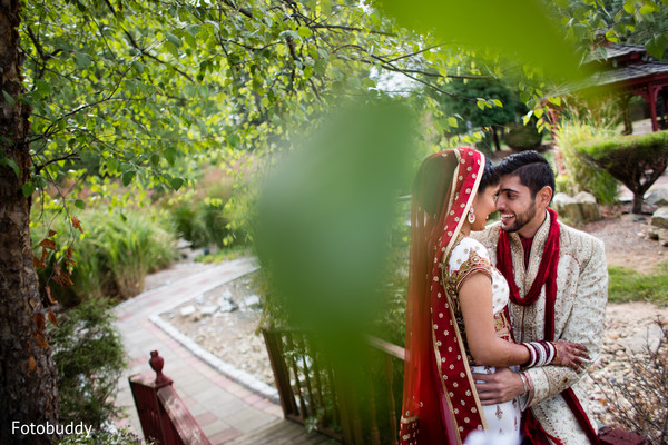First look portrait in Monmouth Junction, NJ South Asian Wedding by Fotobuddy Photography