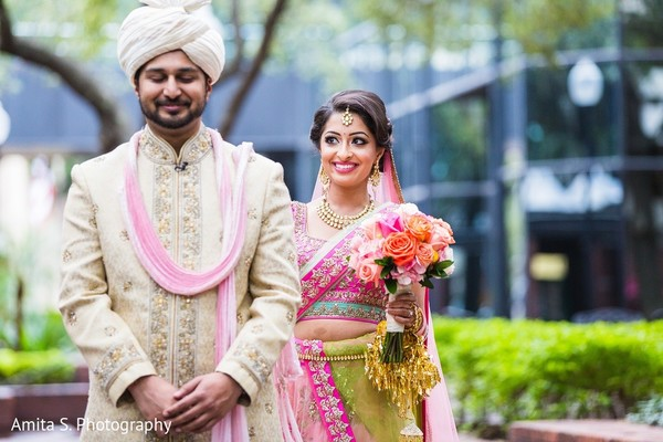 First Look in Tampa, FL Indian Wedding by Amita S. Photography