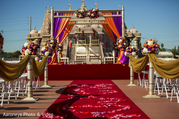 Ceremony decor in Chino Hills, CA Indian Wedding by Aaroneye Photo & Video