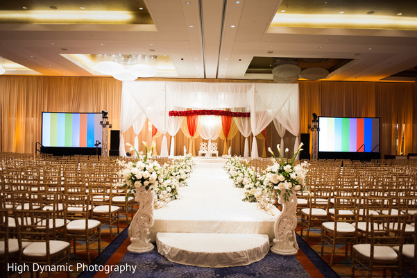 Mandap and decor in Schaumburg, IL South Asian Wedding by High Dynamic Photography