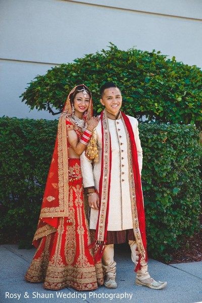 First Look in Detroit, MI Indian Fusion Wedding by Rosy & Shaun Wedding Photographers