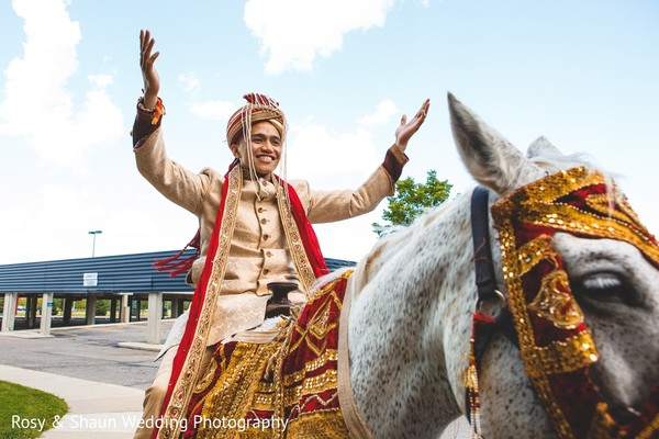 Baraat in Detroit, MI Indian Fusion Wedding by Rosy & Shaun Wedding Photographers