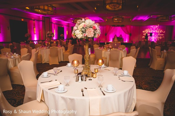 Centerpiece in Detroit, MI Indian Fusion Wedding by Rosy & Shaun Wedding Photographers