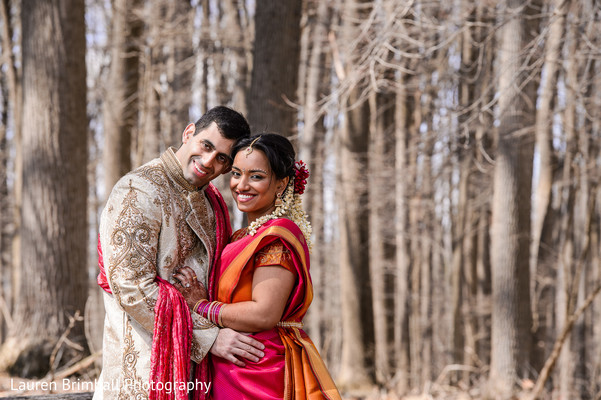 First look in King of Prussia, PA South Asian Fusion Wedding by Lauren Brimhall Photography