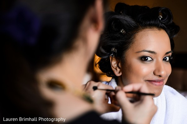Reception hair and makeup in King of Prussia, PA South Asian Fusion Wedding by Lauren Brimhall Photography