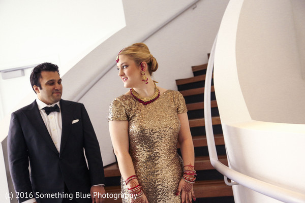 Wedding portrait in Jersey City, NJ Pakistani Fusion Wedding by Something Blue Photography