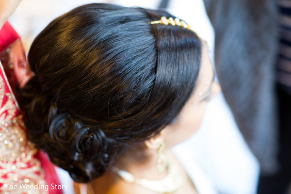 Up-do in Cambridge, MA Indian Wedding by The Wedding Story