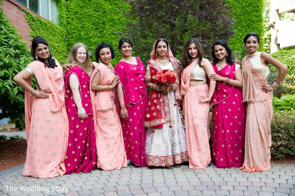 Bridal party portrait in Cambridge, MA Indian Wedding by The Wedding Story