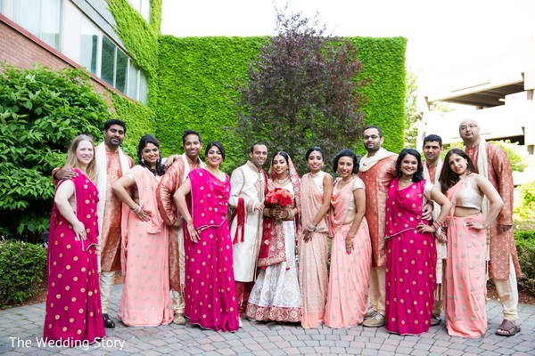 Wedding party portrait in Cambridge, MA Indian Wedding by The Wedding Story