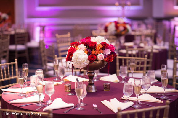 Reception floral & decor in Cambridge, MA Indian Wedding by The Wedding Story
