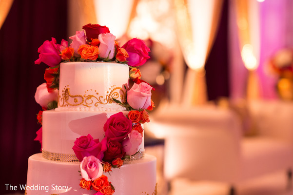 Wedding cake in Cambridge, MA Indian Wedding by The Wedding Story