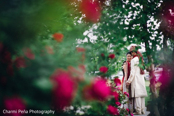 First look portrait in Springfield, PA South Asian Wedding by Charmi Pena Photography