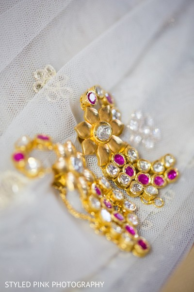 Earrings in Camden, NJ Indian Fusion Wedding by Styled Pink Photography