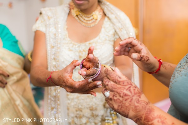 Bride getting ready in Camden, NJ Indian Fusion Wedding by Styled Pink Photography