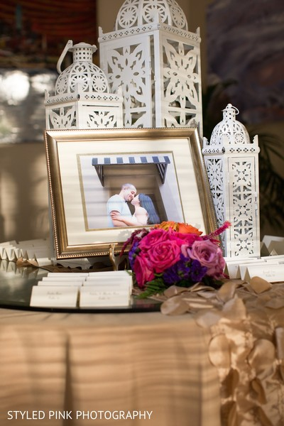 Reception floral and decor in Camden, NJ Indian Fusion Wedding by Styled Pink Photography