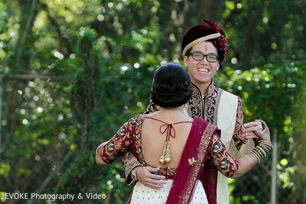 First Look in Houston, TX Indian-Chinese Fusion Wedding by EVOKE Photography & Video