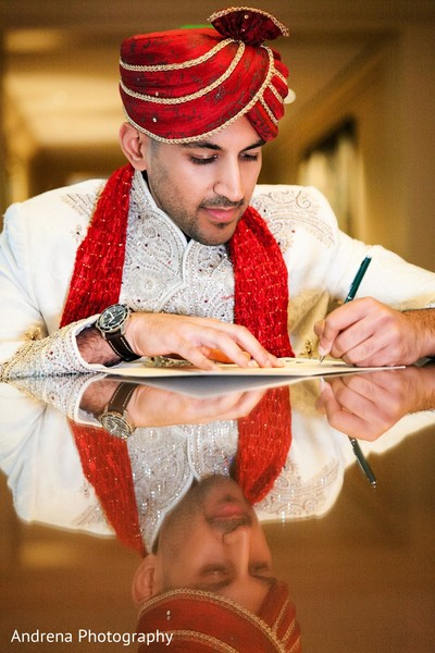 Indian groom portrait in Newport Coast, CA Indian Wedding by Andrena Photography