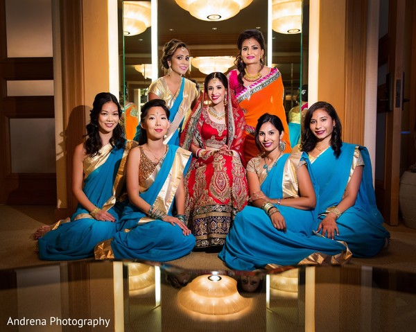 Bridal party in Newport Coast, CA Indian Wedding by Andrena Photography