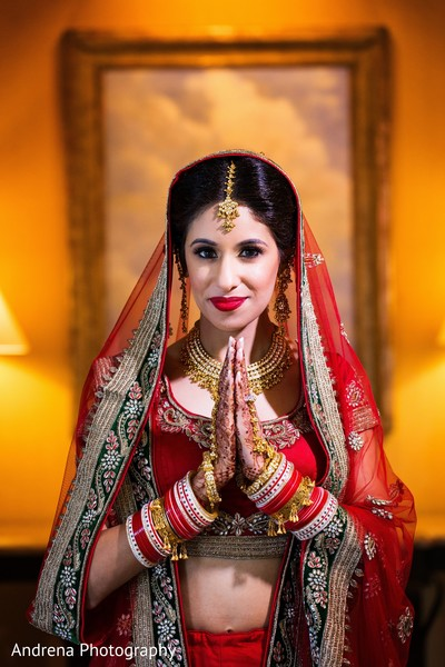 Bridal portrait in Newport Coast, CA Indian Wedding by Andrena Photography