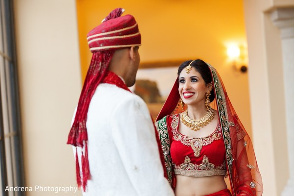 First look portrait in Newport Coast, CA Indian Wedding by Andrena Photography