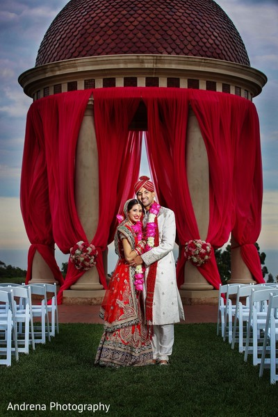 Wedding portrait in Newport Coast, CA Indian Wedding by Andrena Photography