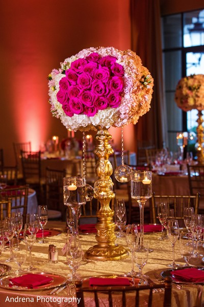 Centerpiece in Newport Coast, CA Indian Wedding by Andrena Photography