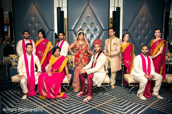 Wedding Party Portrait in Boston, MA Indian Wedding by Allegro Photography