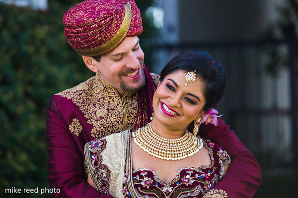 First Look in New Braunfels, TX Indian Fusion Wedding by Mike Reed Photo