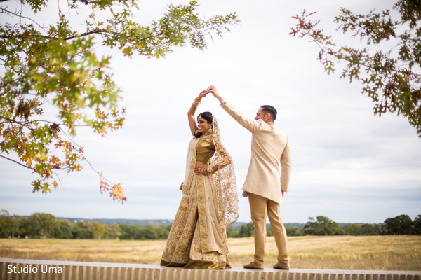 First look photography in Austin, TX Indian Fusion Wedding by Studio Uma