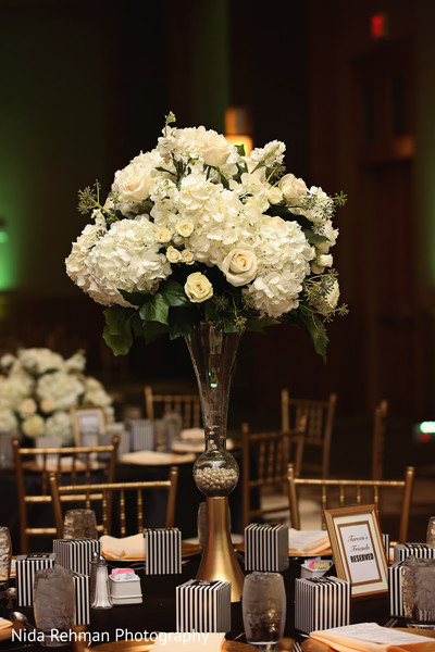 Reception floral and decor in Plano, TX Indian Wedding by Nida Rehman Photography
