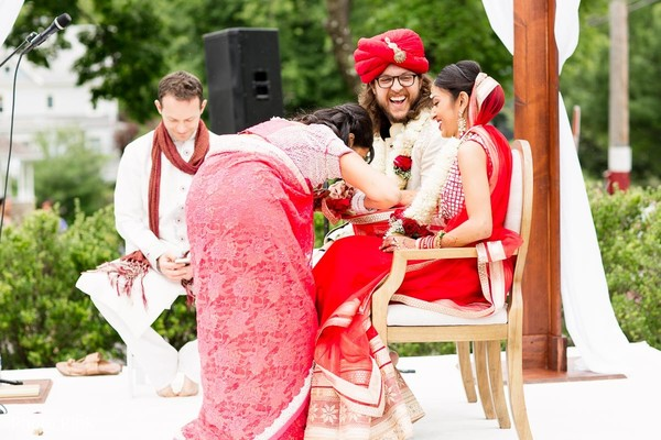 Ceremony in New York, NY Indian Fusion Wedding by Photo Pink