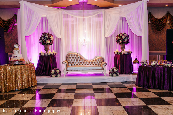 Indian wedding reception floral and decor in Dearborn, MI Pakistani Fusion Wedding by Jessica Kobeissi Photography
