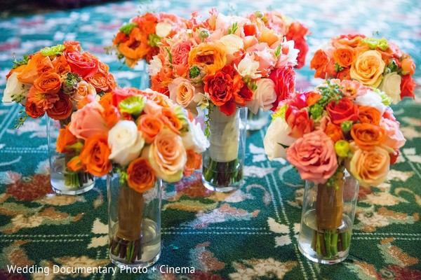 Bridal Party Bouquets in San Jose, CA Indian Fusion Wedding by Wedding Documentary Photo + Cinema