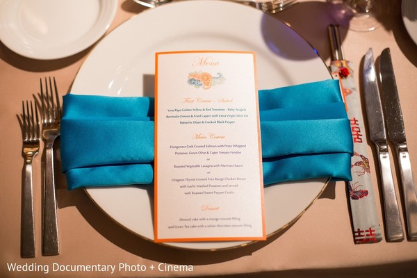 Place Setting & Menu in San Jose, CA Indian Fusion Wedding by Wedding Documentary Photo + Cinema