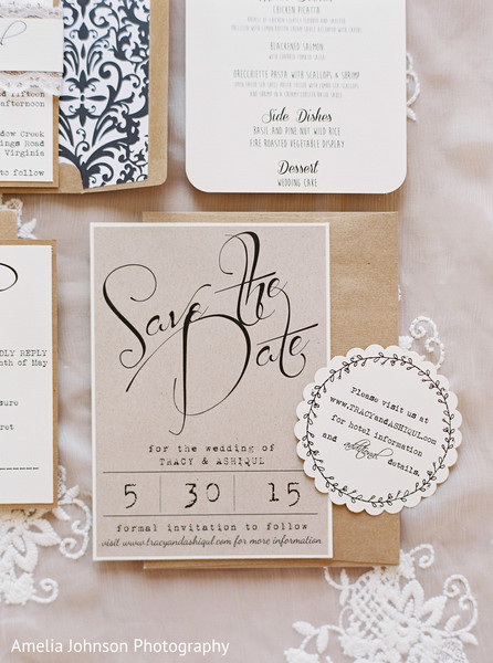 Modern indian wedding stationery in Purcellville, VA Indian Fusion Wedding by Amelia Johnson Photography