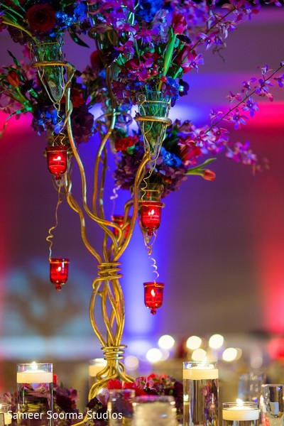 Centerpiece & Lighting in Phoenix, AZ Indian Fusion Wedding by Sameer Soorma Studios