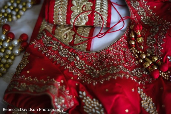 Lengha Details in Cayman Islands Indian Destination Wedding by Rebecca Davidson Photography