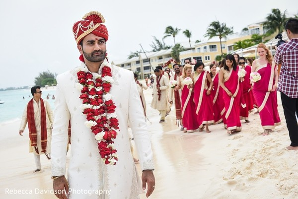 Ceremony in Cayman Islands Indian Destination Wedding by Rebecca Davidson Photography