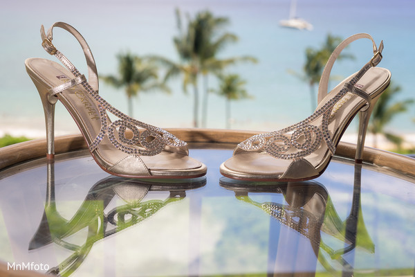 Shoes for indian bride in Maui, HI Destination Indian Wedding by MnMfoto Wedding Photography