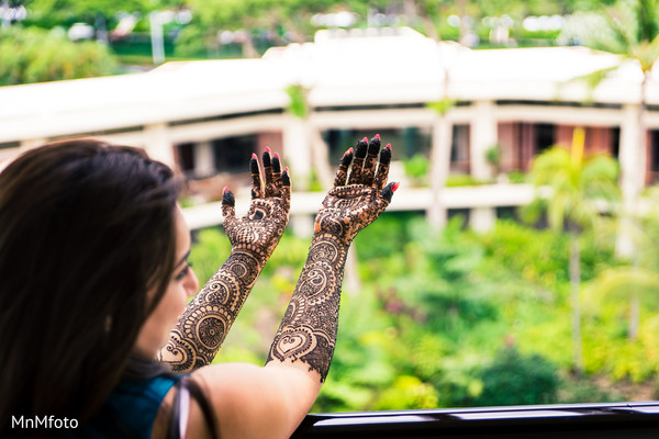 Bridal mehndi in Maui, HI Destination Indian Wedding by MnMfoto Wedding Photography