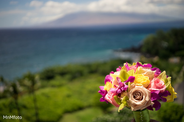 Indian bridal bouquet in Maui, HI Destination Indian Wedding by MnMfoto Wedding Photography