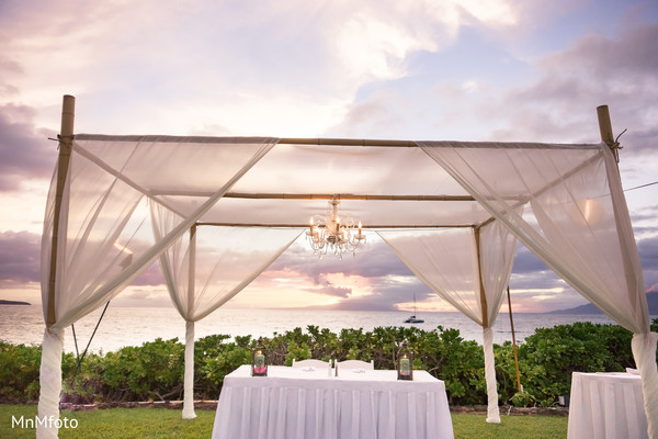 Indian wedding reception floral and decor in Maui, HI Destination Indian Wedding by MnMfoto Wedding Photography