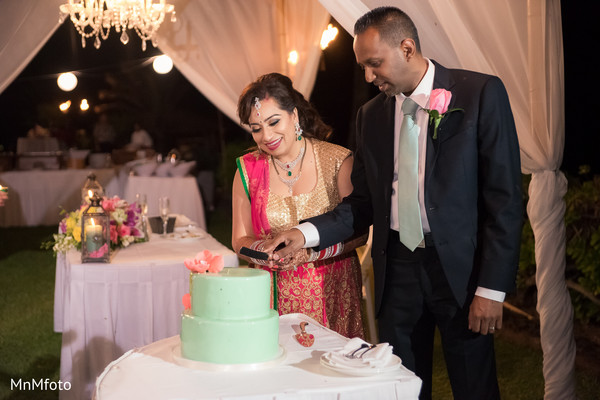 Cake cutting in Maui, HI Destination Indian Wedding by MnMfoto Wedding Photography