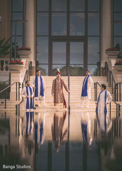 Indian groom and groomsmen in Orlando, FL South Asian Wedding by Banga Studios
