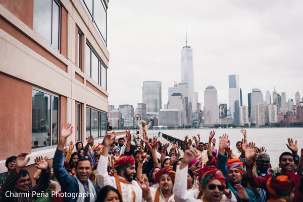Baraat in Jersey City, NJ Indian Wedding by Charmi Pena Photography