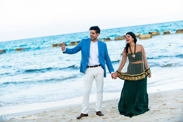 Pre-Wedding Portrait in Playa del Carmen, Mexico Pakistani Desitination Wedding by Lightyear Studio