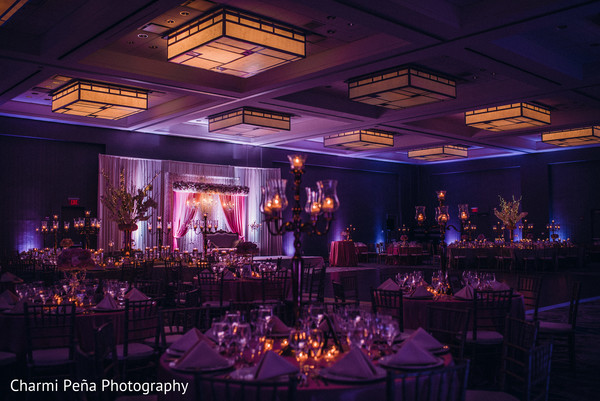 Indian wedding reception floral and decor in Jersey City, NJ Indian Wedding by Charmi Pena Photography